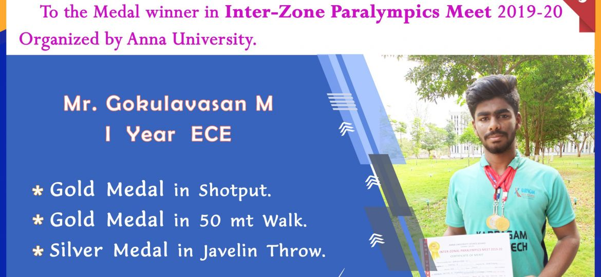 Medal Winner in Inter-Zone Paralympics Meet 2019-2020